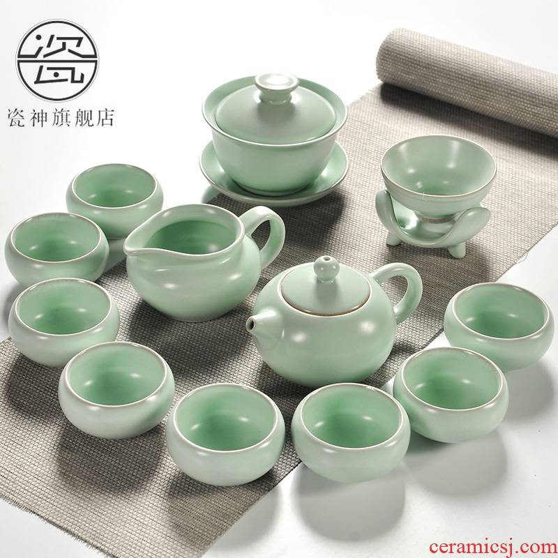 Porcelain god your up ceramic kung fu tea set household ice crack of a complete set of blue and white and purple sand cup lid bowl suit