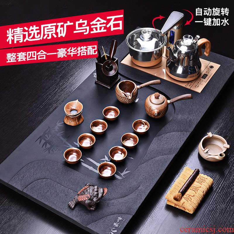 HaoFeng sharply stone tea tray ceramic kung fu tea set with a whole set of domestic induction cooker stone tea mixture