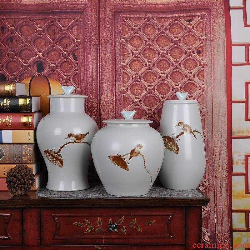 Jingdezhen ceramics vase of modern Chinese style storage tank three - piece home sitting room adornment handicraft furnishing articles