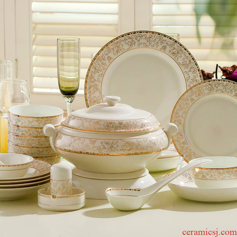 Jingdezhen ceramic tableware suit European dishes suit household of Chinese style up phnom penh Korean rice bowl bowl plate combination