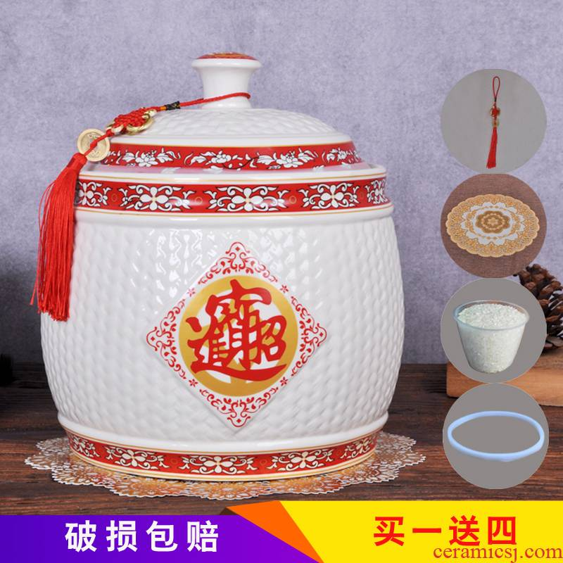 Jingdezhen ceramic barrel household moistureproof kitchen ricer box tank barrel storage bins with cover seal storage tank