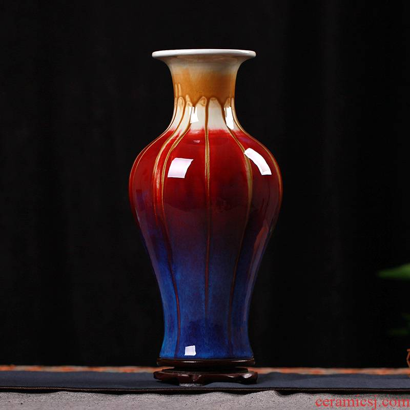 Jingdezhen ceramics up three Yang kaitai, ruby red vase of modern home living room decoration handicraft furnishing articles