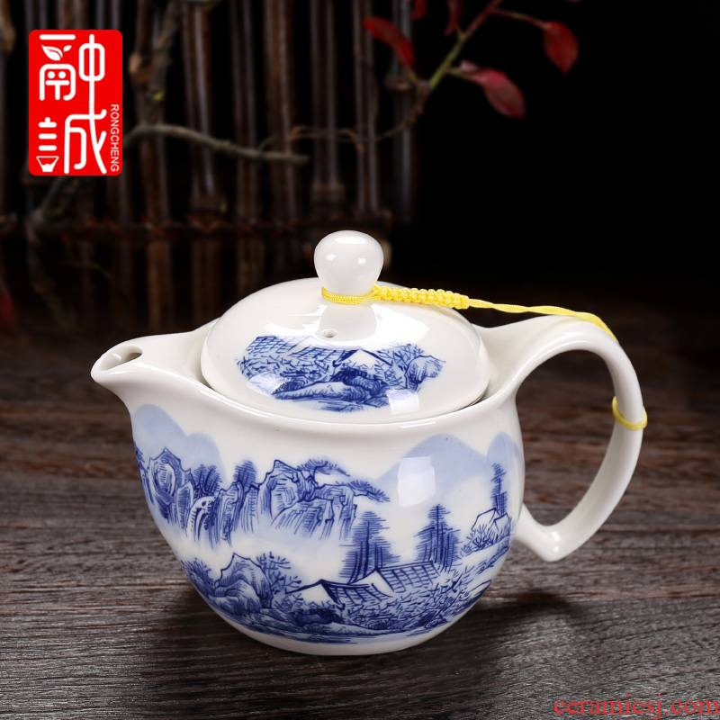 Melting cheng tea set large double single ceramic teapot jingdezhen porcelain teapot kung fu tea tea