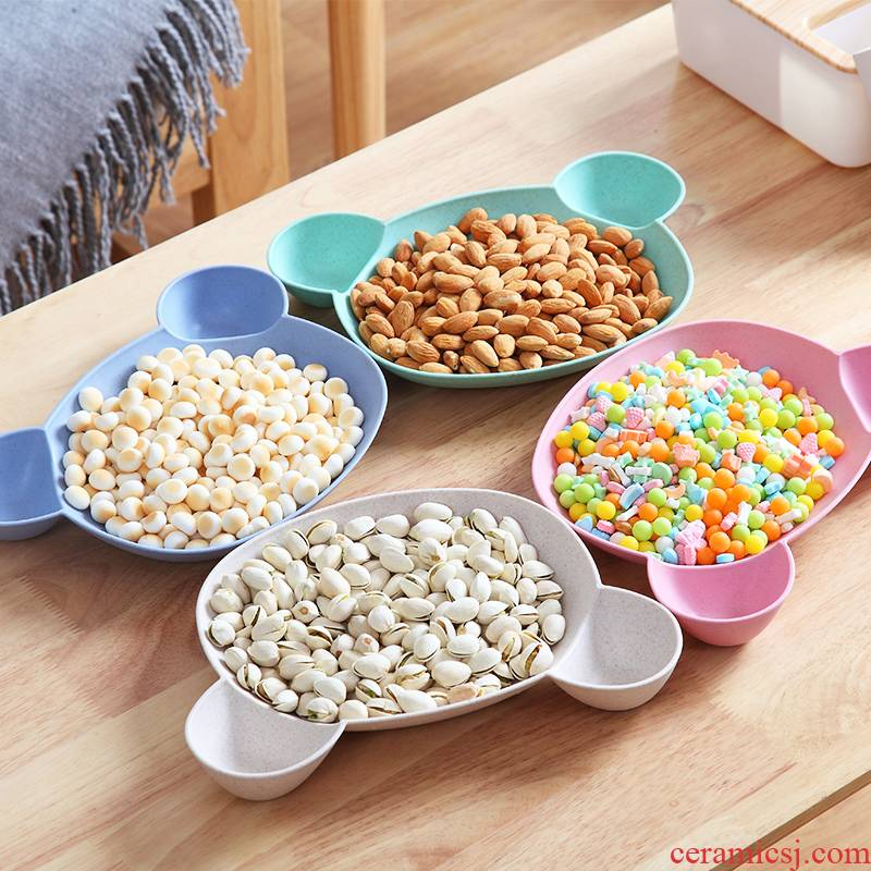 Ward (tea table plate snack plate creative multi - functional household snack plate candy plate melon seeds -into, fruit