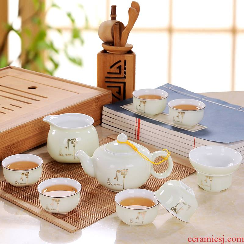 Blower, zen kung fu tea set suit household jingdezhen tea teapot teacup just a cup of tea of a complete set of filter box