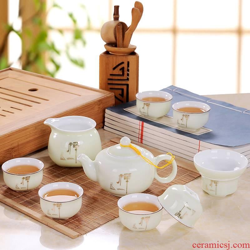 Blower, zen kung fu tea set suit household jingdezhen tea teapot teacup just a cup of tea of a complete set of filter box