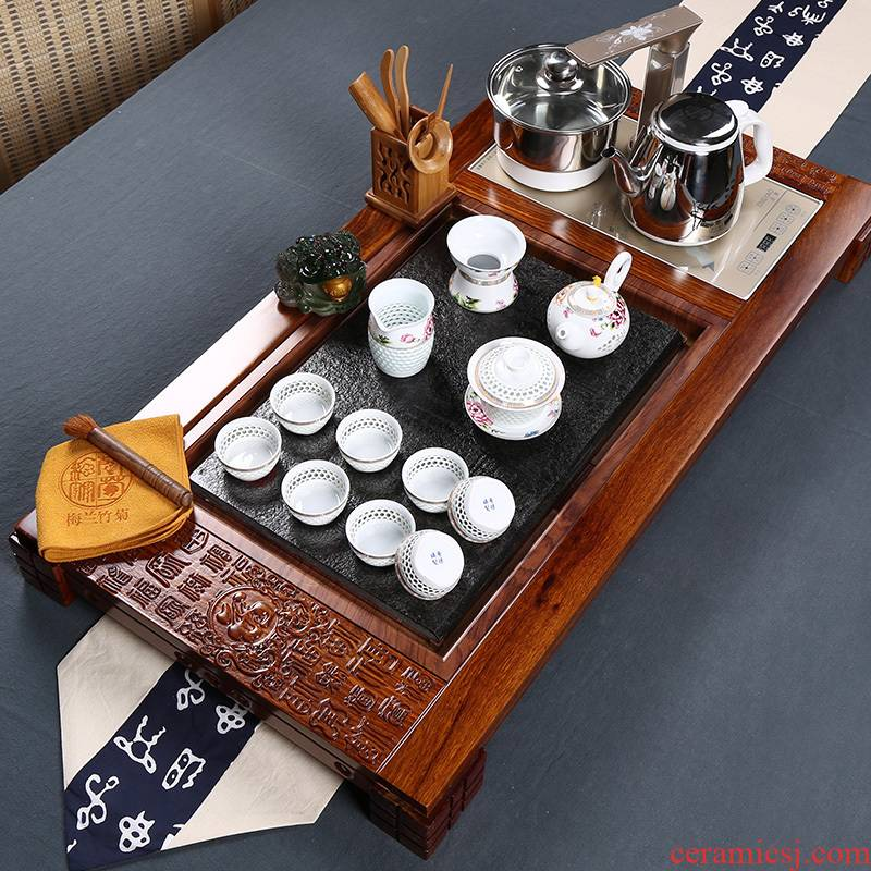 Hua limu tea tray was kung fu tea set four unity induction cooker ceramic cups of a complete set of home office suite