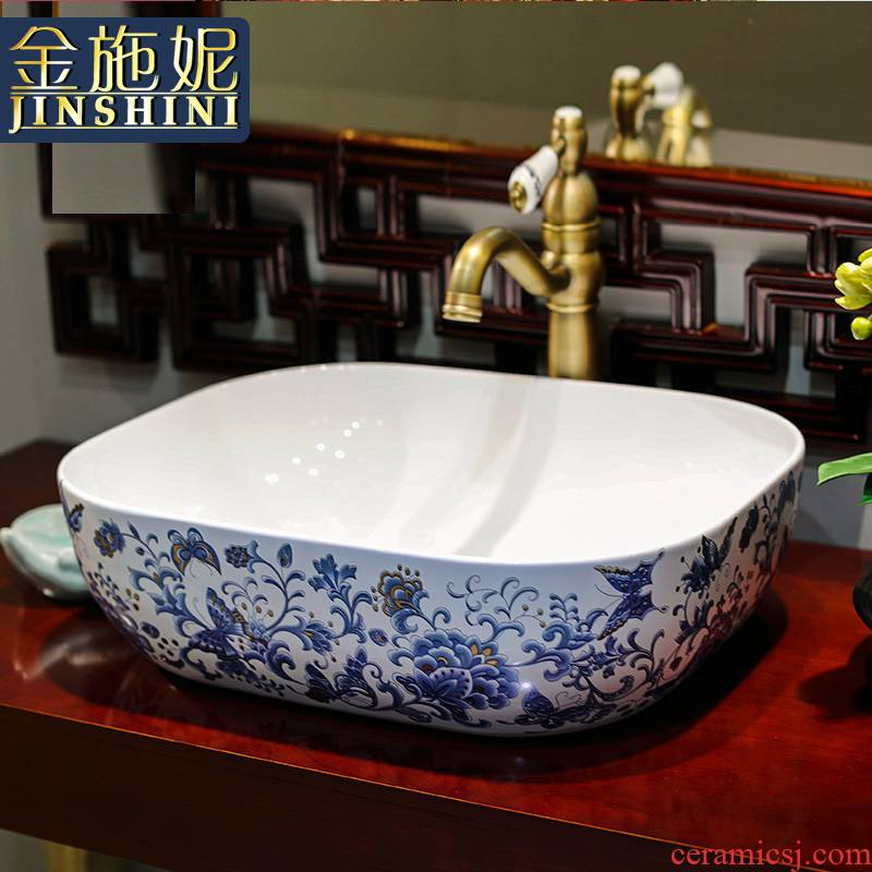 Gold cellnique basin that wash a face hand on the plate of jingdezhen ceramic lavabo lavatory bath art basin of a rectangle