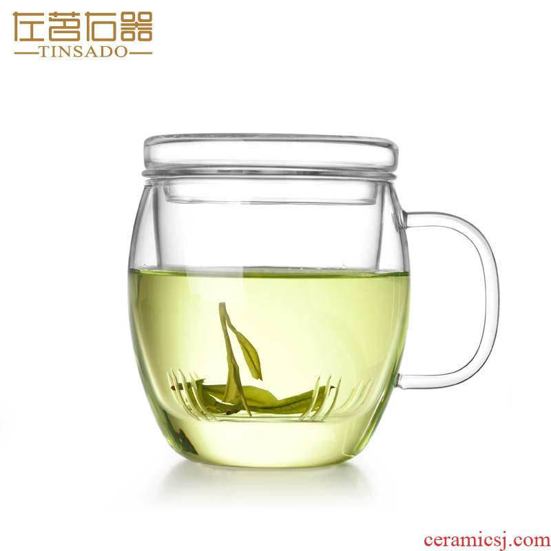 ZuoMing right implement of household separation with cover glass tea cup water filter office spend 500 ml cups thickening