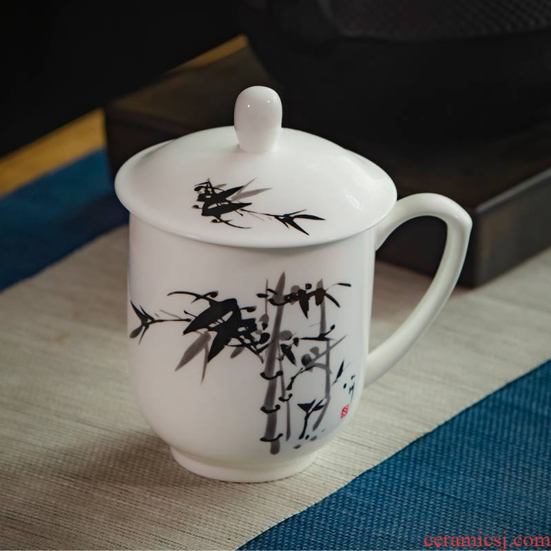 Office and meeting packages mailed jingdezhen ceramic cups with cover glass ipads porcelain cup ink bamboo gift custom LOGO
