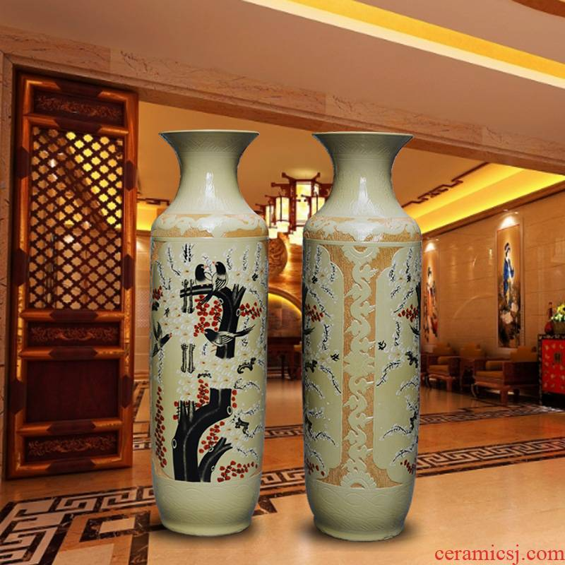 Jingdezhen hand - made shanshui hotel opening office for the study of large ceramics vase sitting room adornment is placed