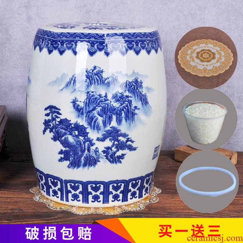 Jingdezhen ceramics with cover 30 jins ricer box 50 kg barrel storage tank brewing tea cake cylinder cylinder cylinder tank household