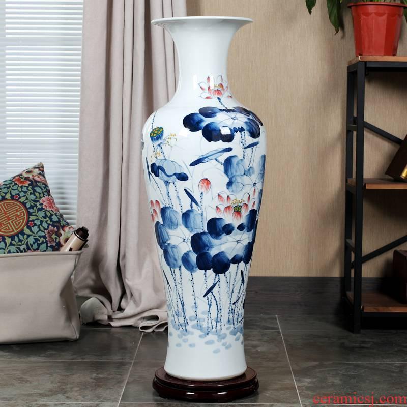 Jingdezhen ceramic floor day hao big vase hand - made lotus landscape ceramic vase sitting room home decoration
