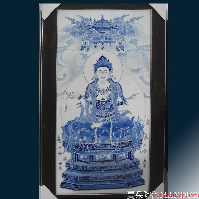 Jingdezhen hand - made porcelain view video porcelain plate painting central scroll hanging porcelain porcelain plate of kannon hand - made of porcelain