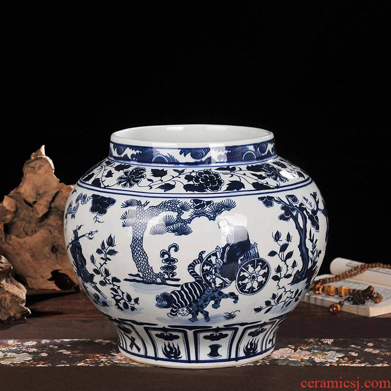 Jingdezhen ceramics guiguzi of blue and white porcelain vases, flower implement wine cabinet office decoration handicraft furnishing articles in the living room