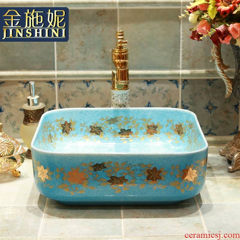 Gold cellnique rural wind lavabo lavatory sink color glaze ceramic square emerald blue birds and flowers
