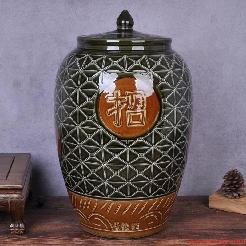 Ceramic barrel 50 kg seal ricer box with cover tank oil cylinder cylinder pickled kimchi flour barrels of storage bins