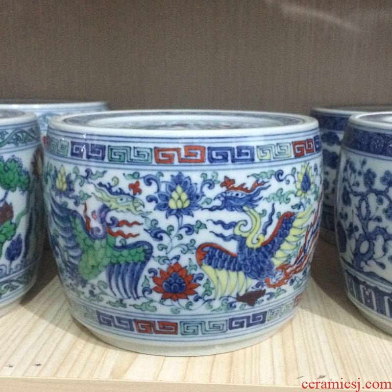 Jingdezhen color copy to fight cricket cricket as cans to tank porcelain color washing tank fights the color blue and white pot