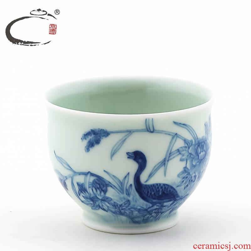 And auspicious system hand - made sample tea cup jingdezhen blue And white porcelain cup bowl manually kung fu tea cup