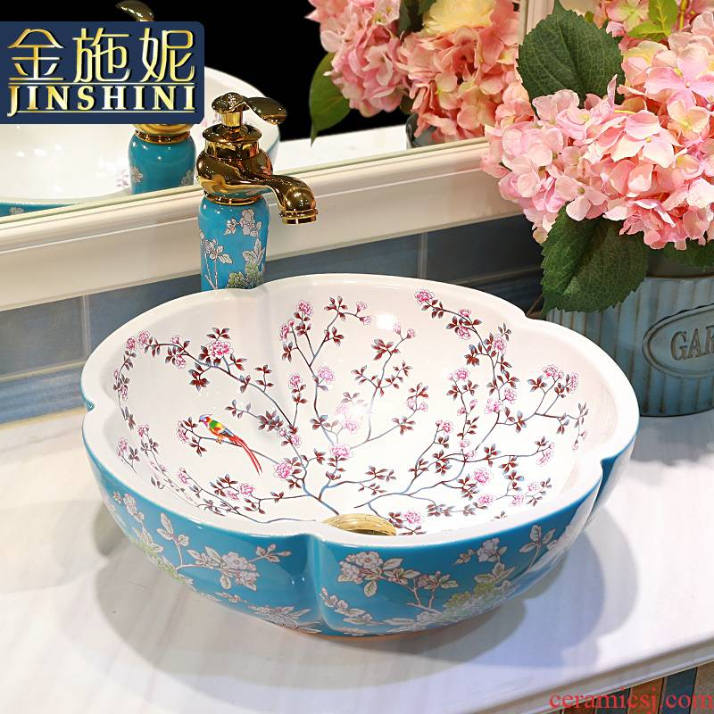 Gold cellnique art stage basin color ceramic lavatory installs bathroom sink rural painting of flowers and face plate
