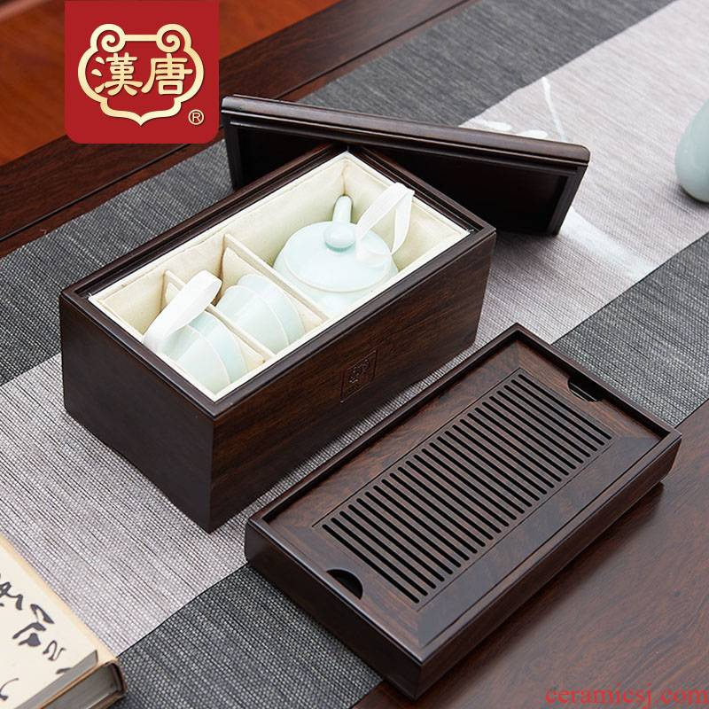 Han and tang dynasties travel tea tray was portable car real wood small mini tea saucer two people with dry mercifully water tea table