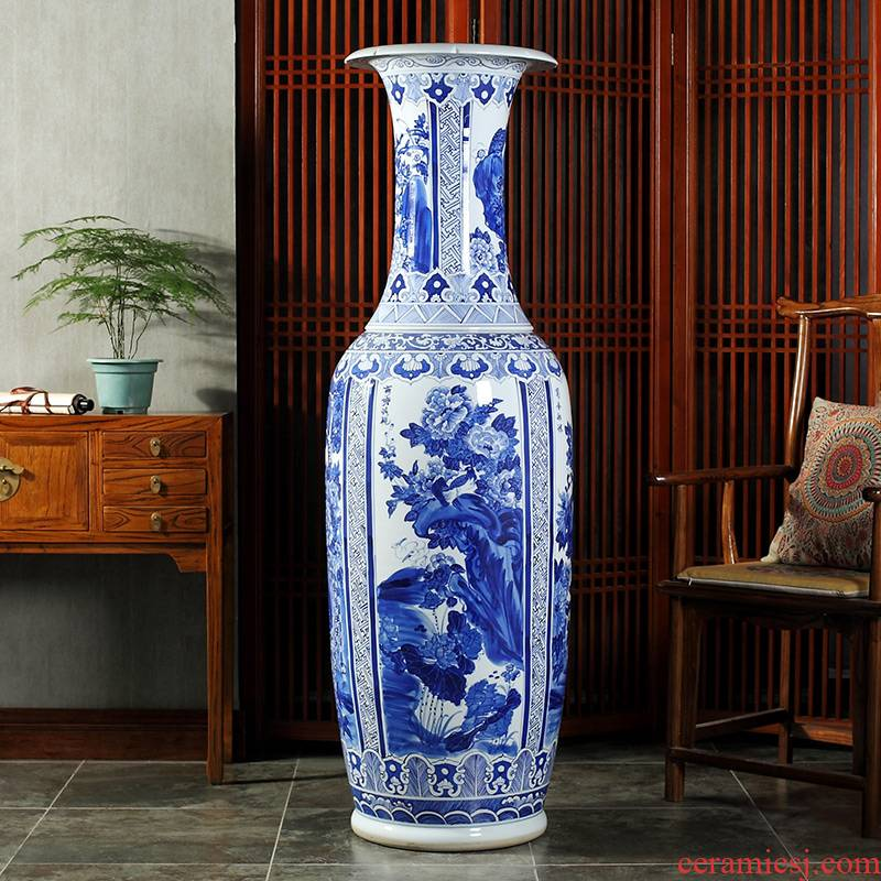 Jingdezhen ceramics hand - made porcelain of 1.6 meters of large vase hotel lobby sitting room adornment is placed