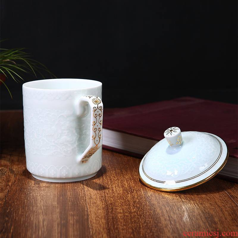 Red xin gold coloured drawing or pattern of jingdezhen ceramic celadon office with cover cup tea cup 550 ml happens