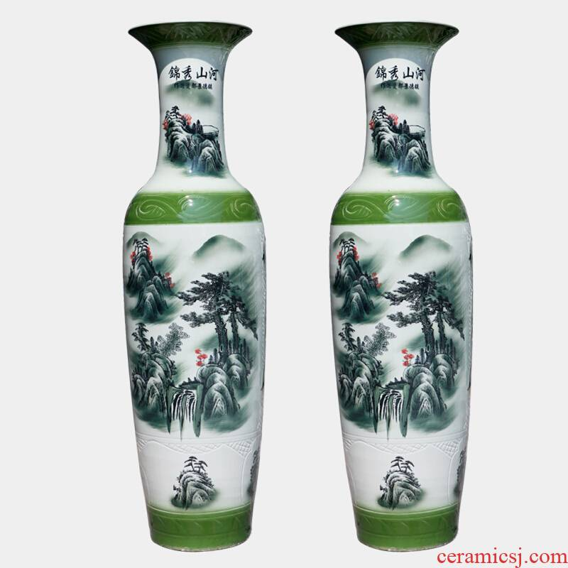 Jingdezhen ceramics of large vase manual hand - made guest - the greeting pine sitting room place hotel opening decorative vase