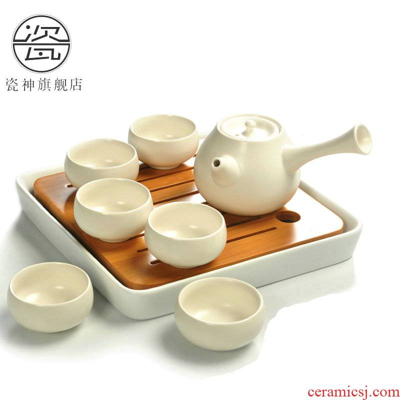 Porcelain ceramic god kung fu tea set Japanese small office travel portable side soaked as the dry bamboo tea tray table suit