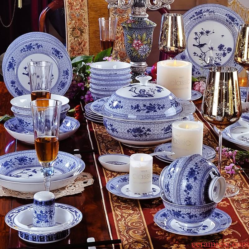 Red xin 58 head of archaize of jingdezhen blue and white ipads China tableware celadon creative elegant tableware tableware