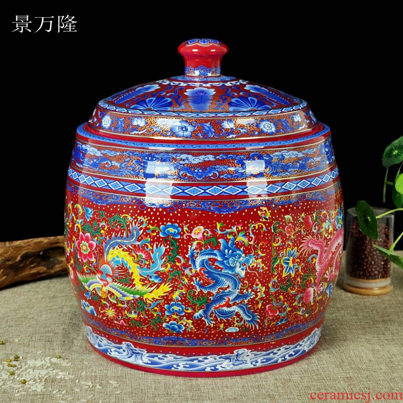 Ceramic rice box storage barrel 25 kg ricer box storage tank tea cake cylinder oil tank sealed container and thicken with cover