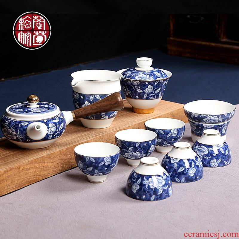 Kung fu tea tureen ideas of a complete set of ceramic tea cup combination of blue and white porcelain office home tea to suit