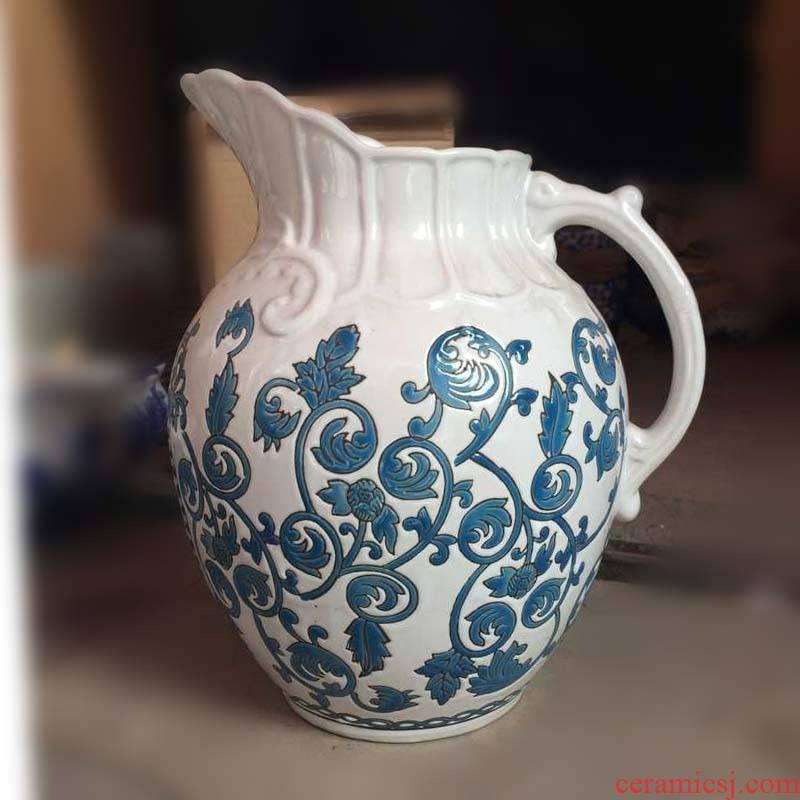 Jingdezhen European - style decorative pattern porcelain handle pot of porcelain vase European - style decorative pattern porcelain bottle pot handle hand