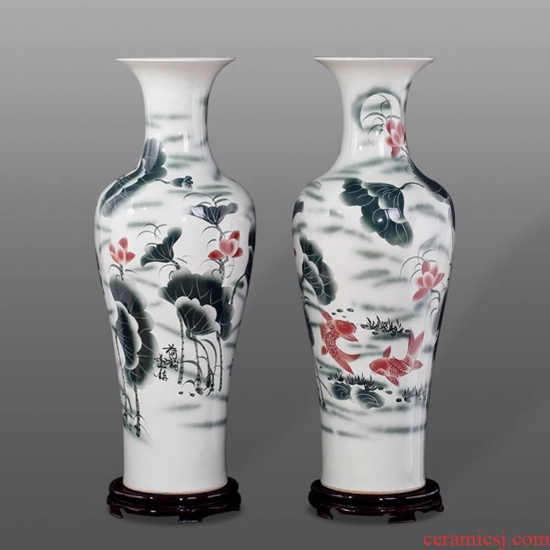 Jingdezhen blue and white vase of large sitting room hotel decoration ceramics handicraft furnishing articles