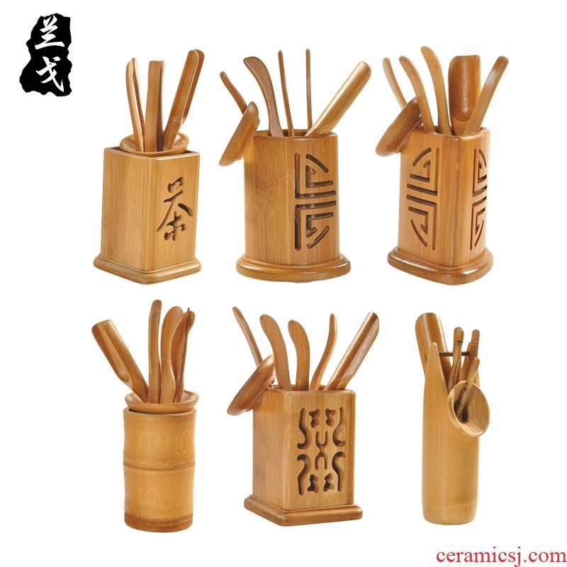 Having bamboo tea six gentleman ChaZhen tea spoon ChaGa hollow out tea tea tea set spare parts 6 gentleman