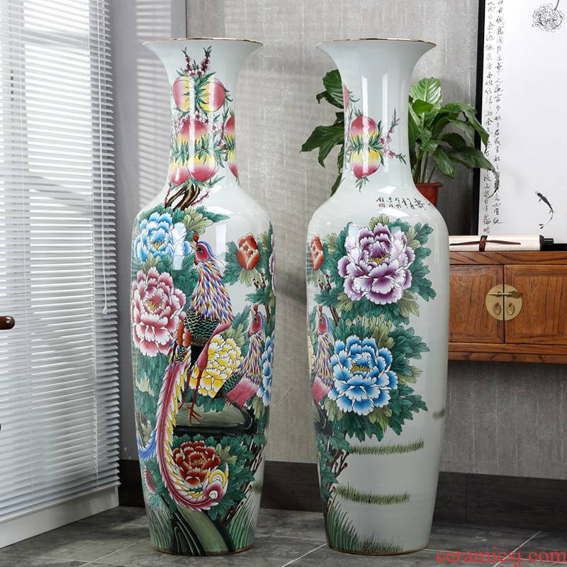 Jingdezhen ceramic vase hand - made pastel wealth longevity archaize sitting room of large vase furnishing articles opening gifts