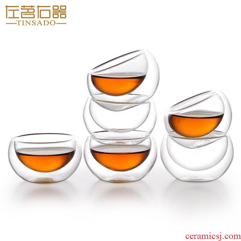 ZuoMing prevent hot cups right implement double glass insulation mini sample tea cup kung fu small 6 cups