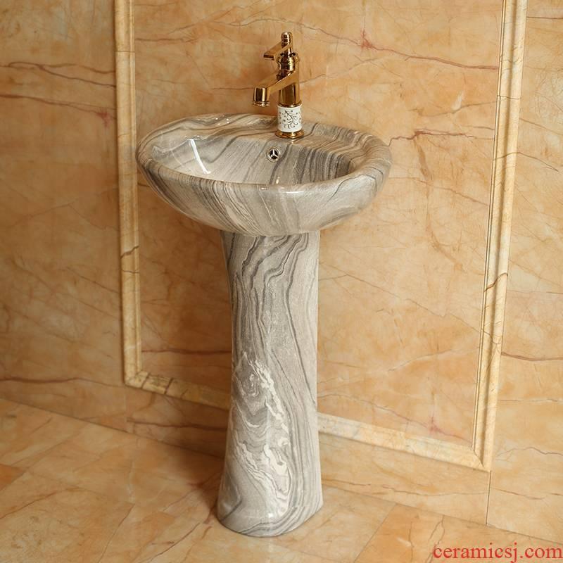 Spring rain ceramic column type lavatory floor balcony toilet lavatory sink European contracted