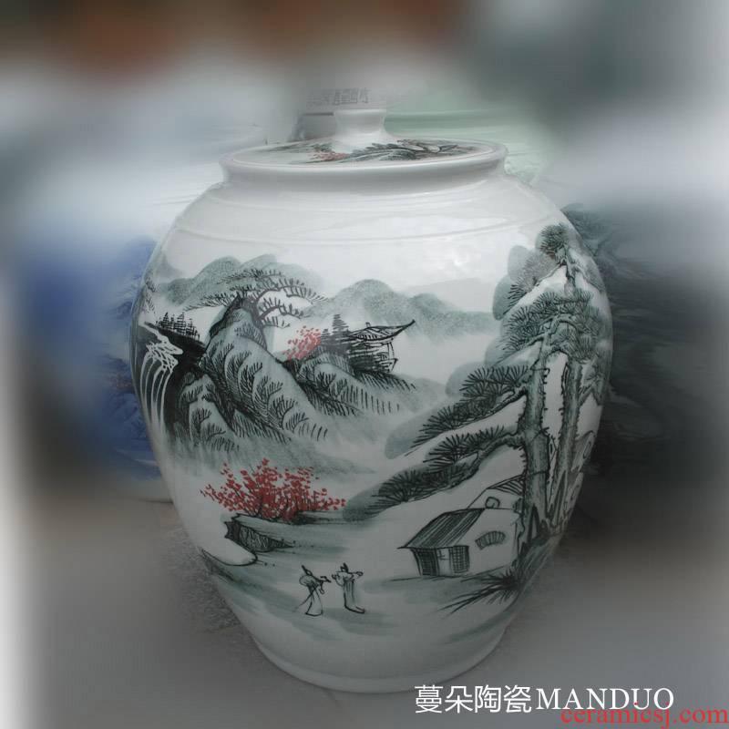 The Clear and elegant elegant landscape art ceramic cover meters 40 kg oil tank hold ceramic porcelain large POTS