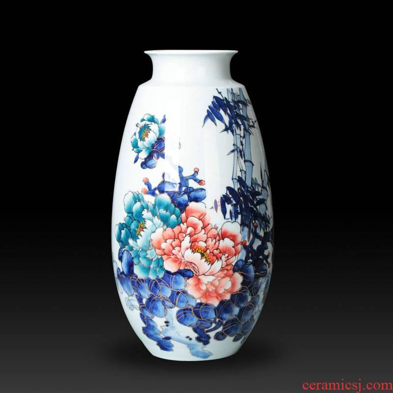 The see colour blue and white porcelain jingdezhen ceramic vase decorator Chinese peony vases, handicraft furnishing articles sitting room set