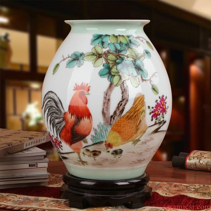 Famous jingdezhen ceramics vase Xia Guoan works upscale gift family hand famille rose porcelain vase