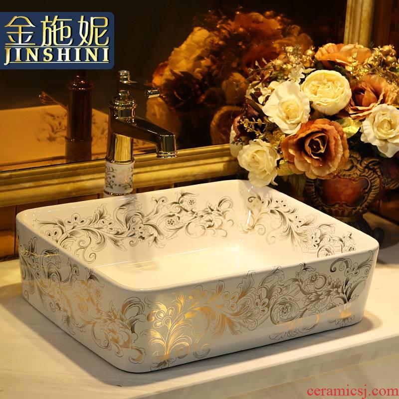 Gold cellnique jingdezhen stage basin ceramic lavabo rectangular basin bathroom sinks GuYuBi vines