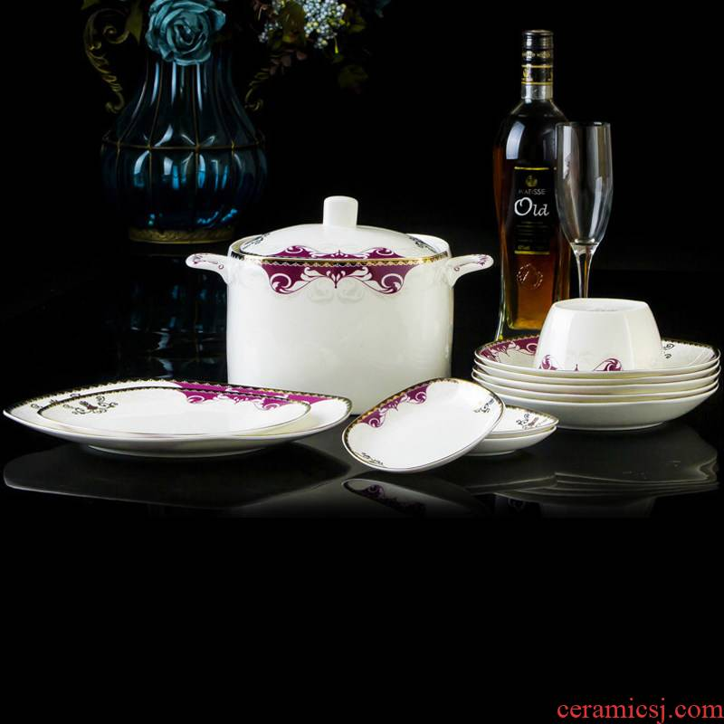Chinese ipads porcelain tableware suit dishes home European up phnom penh ceramic bowl dish high - end wedding gift combination