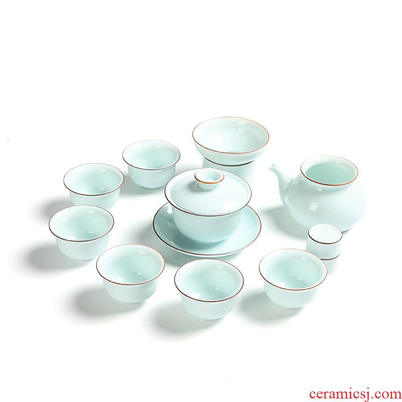 Ding heng celadon of a complete set of tea service suit green glaze kung fu tea tea pot lid bowl of tea cup gift boxes