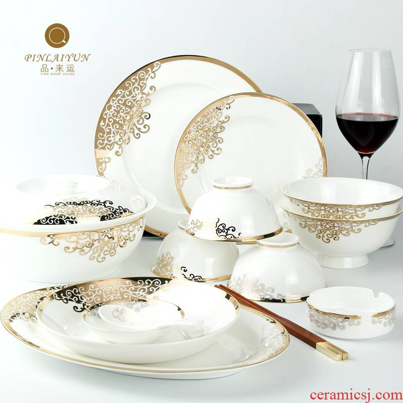 Tangshan goods to transport 】 【 dishes dishes 56 skull ipads China 】 【 porcelain tableware suit Korean ceramics