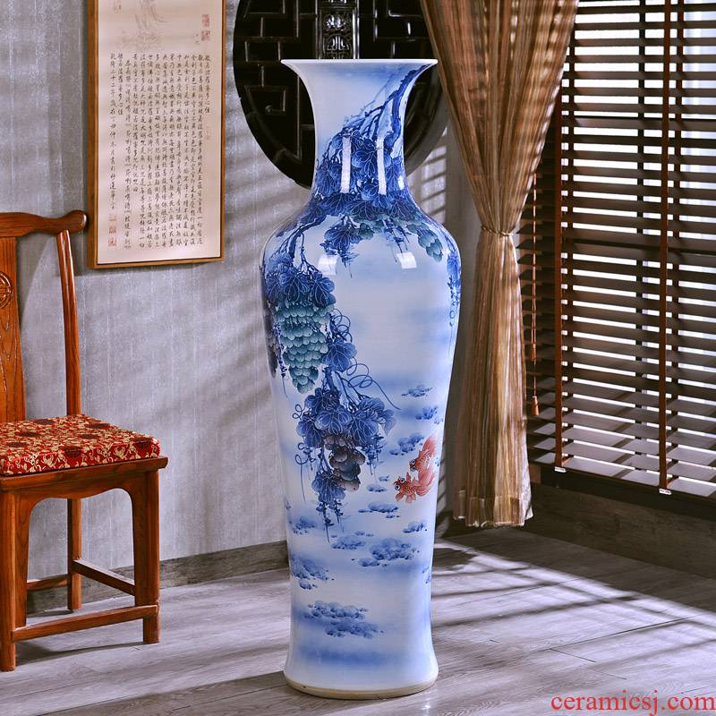 Jingdezhen hand - made wealth and auspicious landing crafts are big vase sitting room of modern ceramic vase