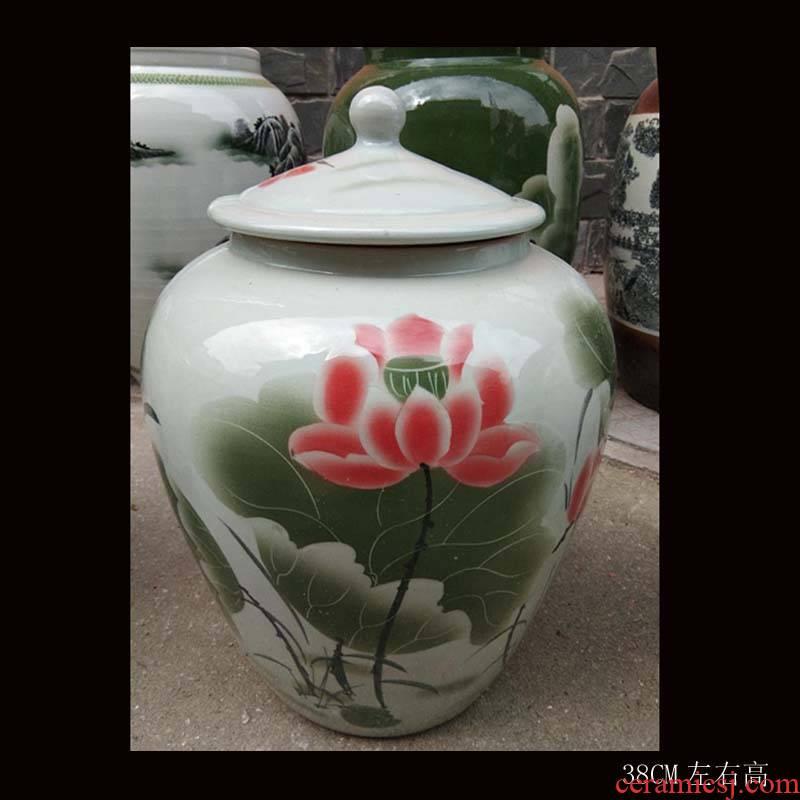 Fashion beautiful ceramic porcelain large storage tank ceramic porcelain with cover barrel storage tank 40 pounds