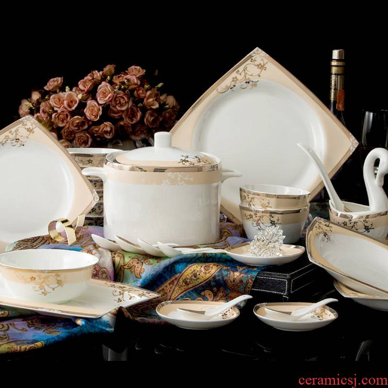 Your dishes suit household jingdezhen ceramic tableware contracted north European ipads plate combination of Chinese style of eating the food