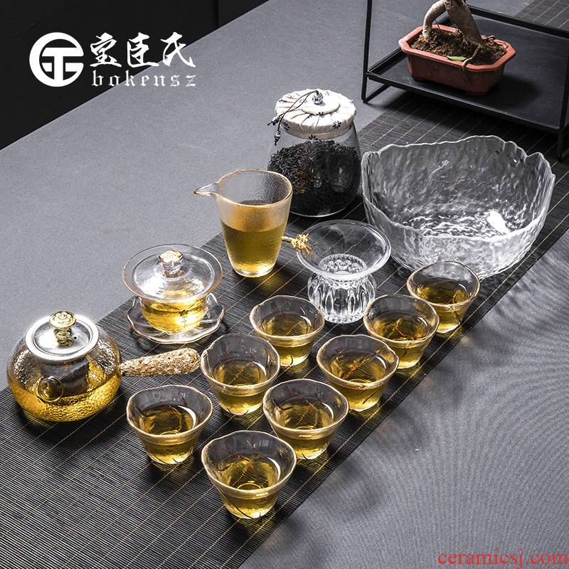Treasure minister 's paint hammer kung fu tea set household contracted transparent glass tea, tea pot set