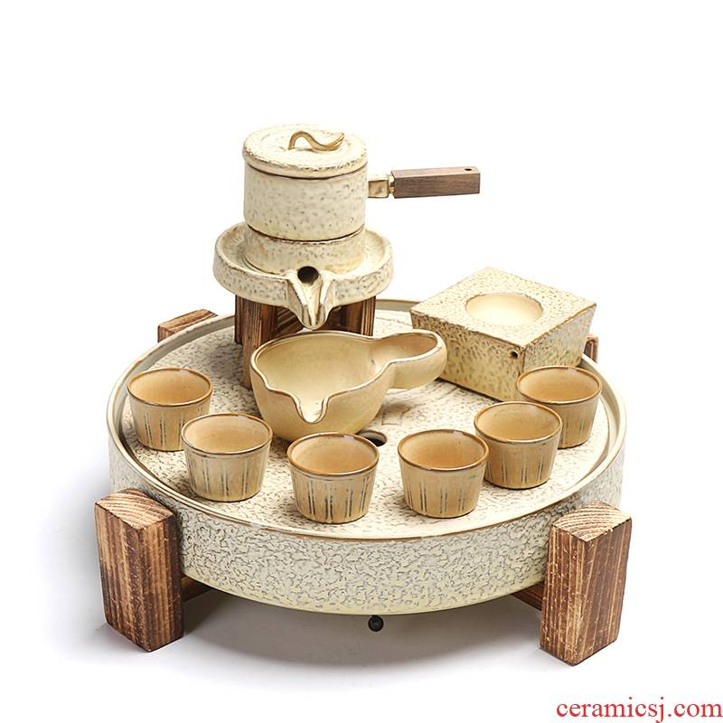 True prosperous fortunes half automatic tea set stone mill lazy people make tea, and a complete set of ceramic tea tray household